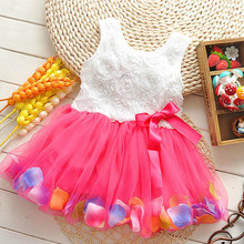 Kids Baby Girls Beautiful Flower Dress Princess Summer Sleeveless Mini Tutu Pink Yellow Green