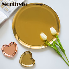 Nordic metal golden round tray steel decorative fruit home decoration storage jewellery plates rolling