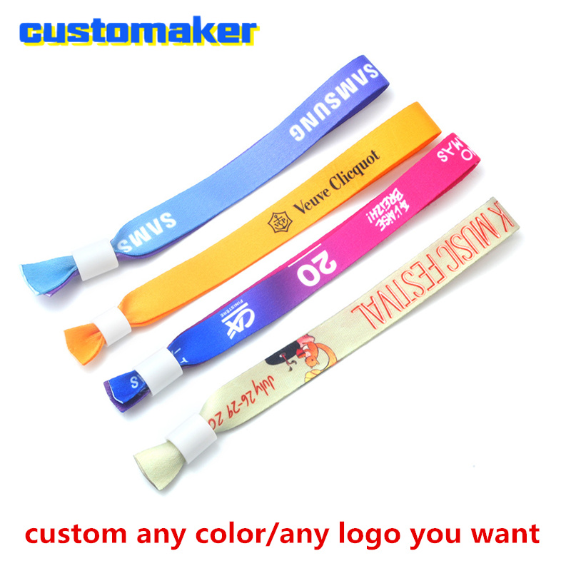 Custom ribbon satin wristband Feature holiday full color Printed Ribbon SILK BRACELET FOR EVENT party concert entrance ID in Party Favors from Home Garden