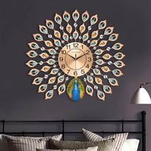 Современные Роскошные 3D Алмазные Хрустальные кварцевые павлиньи настенные часы для дома, декор для гостиной, большие бесшумные настенные часы, художественные поделки