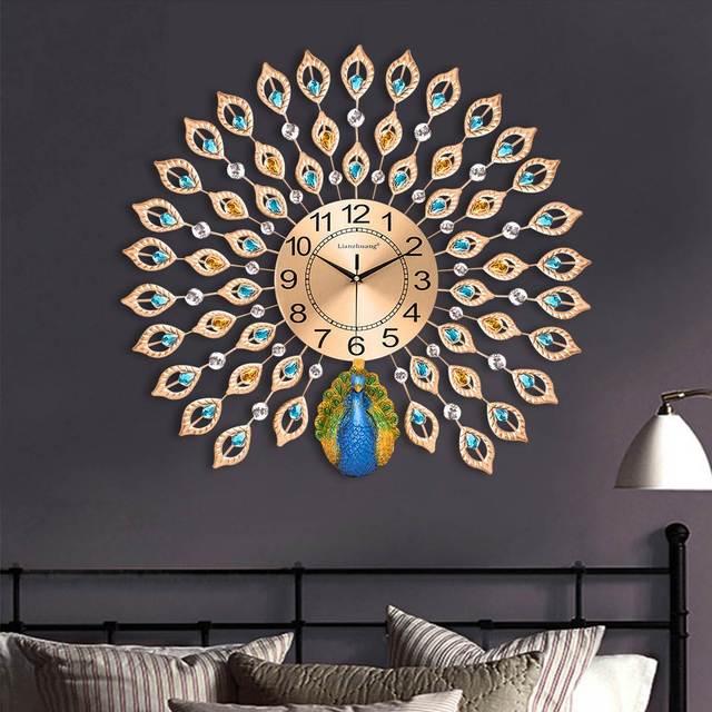 Modern Luxury 3D Diamond Crystal Quartz Peacock Wall Clocks for Home Living Room Decor Large Silent Wall Clock Art Crafts