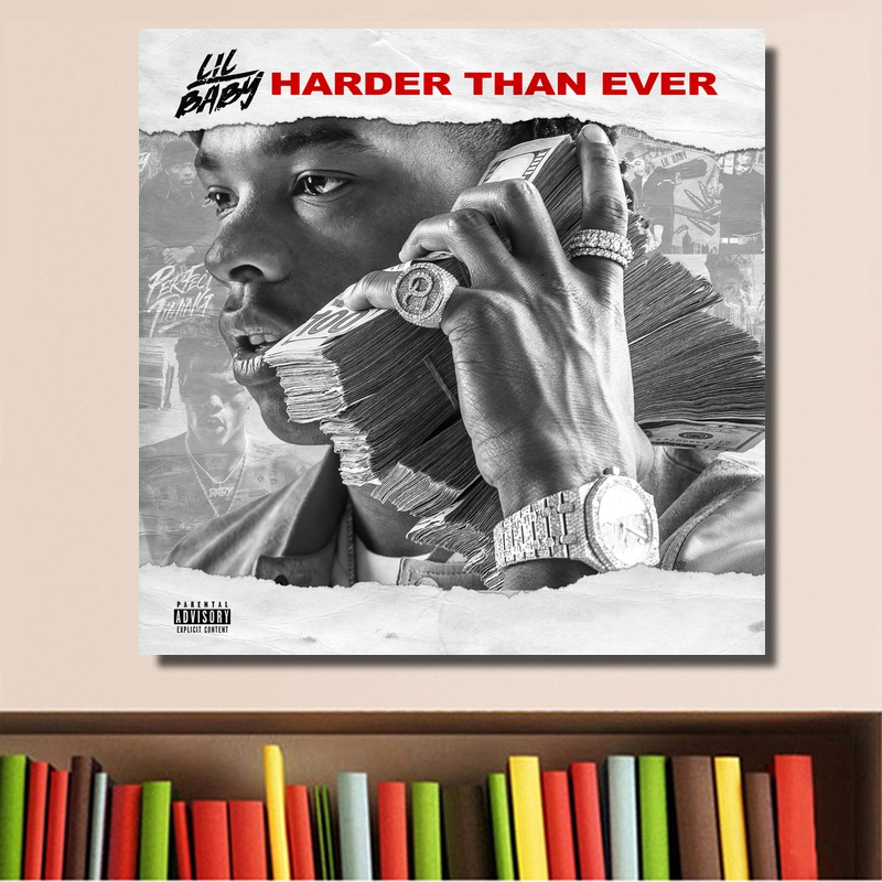 Lil Baby Harder Than Ever Poster Album Music Cover Art Poster Print on Canvas Home Decor Wall Art No Frame image