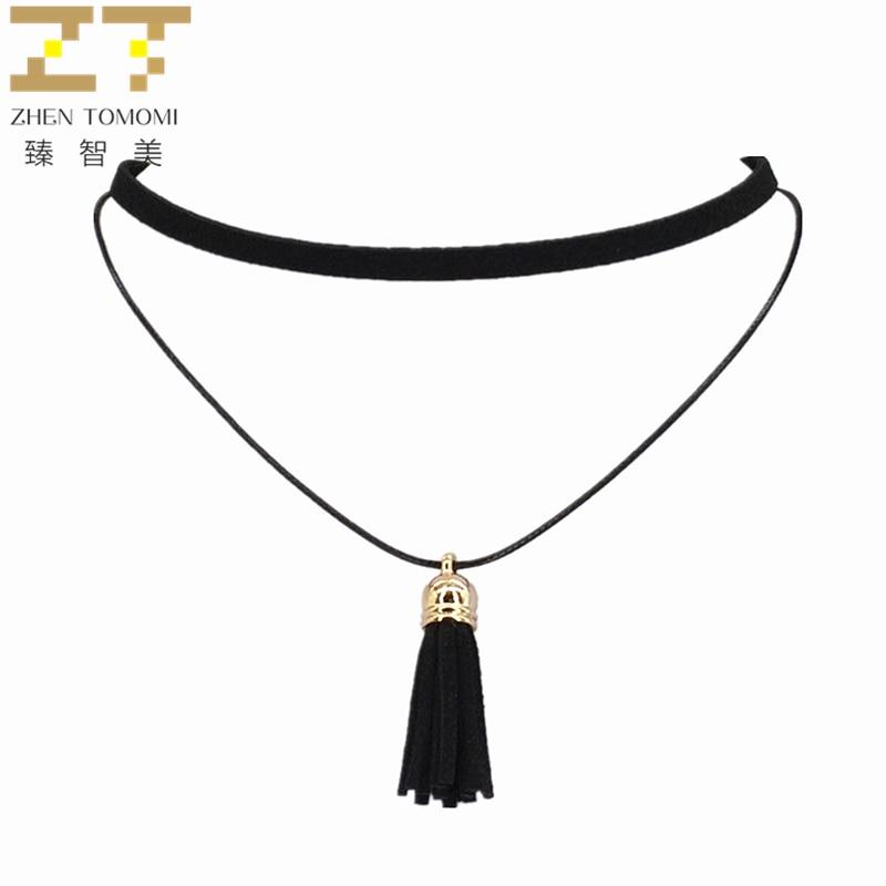 Colar de moda quente torques instrução puro preto veludo couro borla pingente multicamadas gargantilhas colar para mulher 2020 jóias