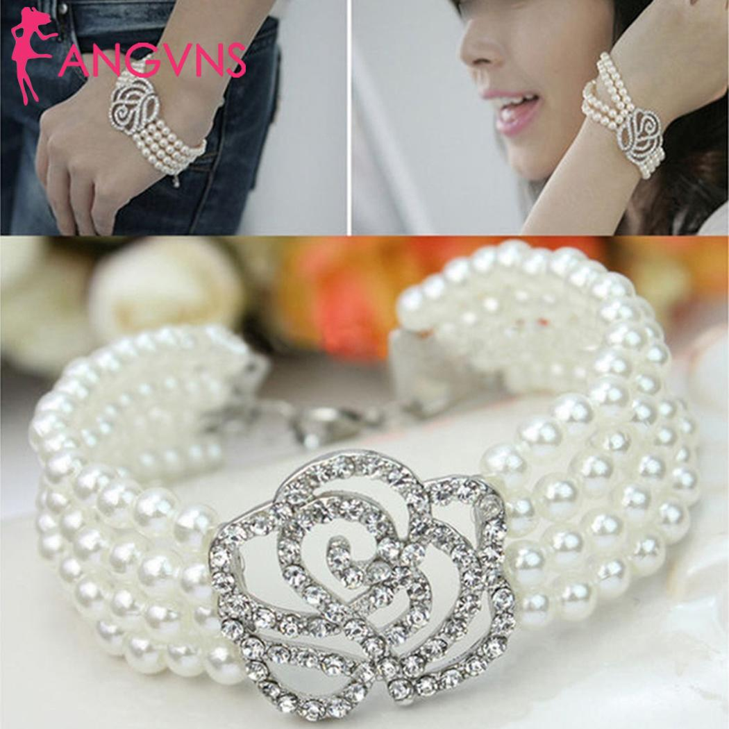 Women Multilayer Crystal Rose Flower Imitation Pearl Casual, Birthday, Party, etc. Bangle Bracelets Jewelry