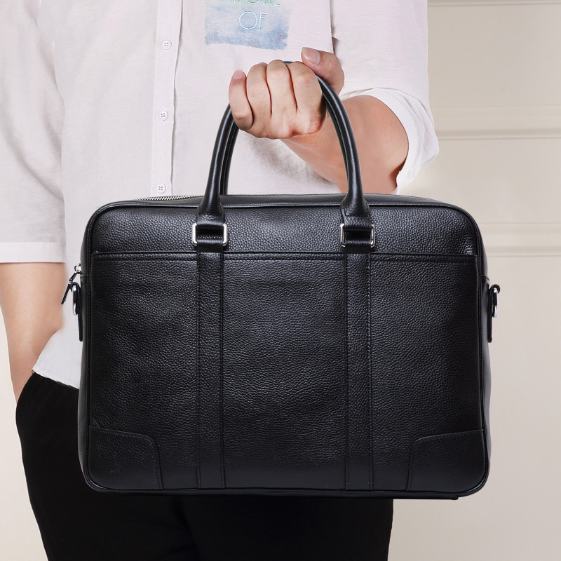 Fashion Business Cow Leather Mens Briefcase Genuine Leather Men Bags 14 inch Laptop Handbag Computer Leather Bag for Men(China)