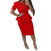 цены Elegant Office Lady Dress Women O Neck Short Sleeve Work Dresses Sexy Bodycon Midi Pencil Vestidos With Zipper Red Blue Yellow