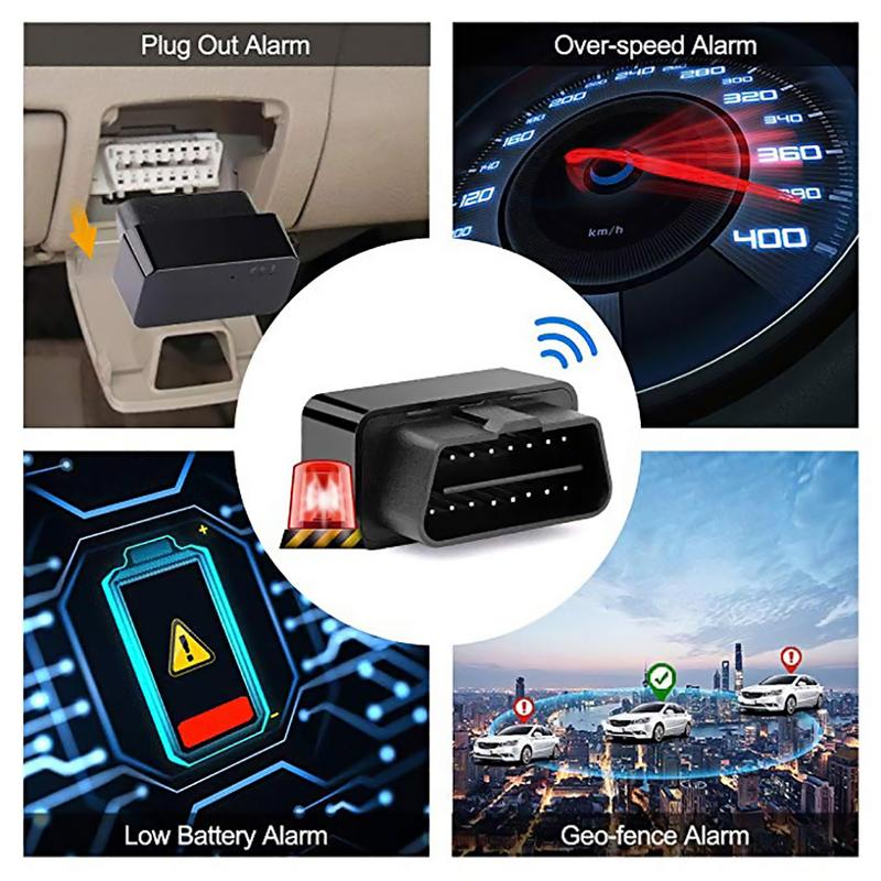 OBD Rastreador GPS do carro-Plug And Play Car Tracker OBD Rastreador GPS Car Tracker Tempo Real Locator Com SOS alarme da cerca Geo-, aplicativo gratuito