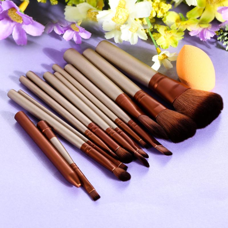 12Pcs Cosmetic Eyeliner Angled Makeup Brushes Set Sponge Puff Pro Make Up Contour Brush in Eye Shadow Applicator from Beauty Health
