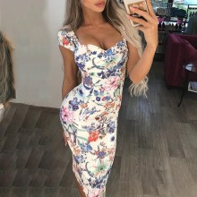 Sexy V Neck Print Dress Women Flower Party Summer Ladies Casual Bodycon Midi Dresses