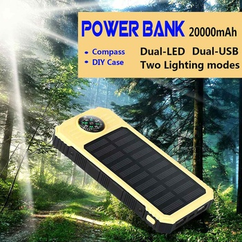 Portable Solar Power Bank 30000mah  External Battery 2USB LED Powerbank Mobile phone Solar Charger box and needle for Smartphone