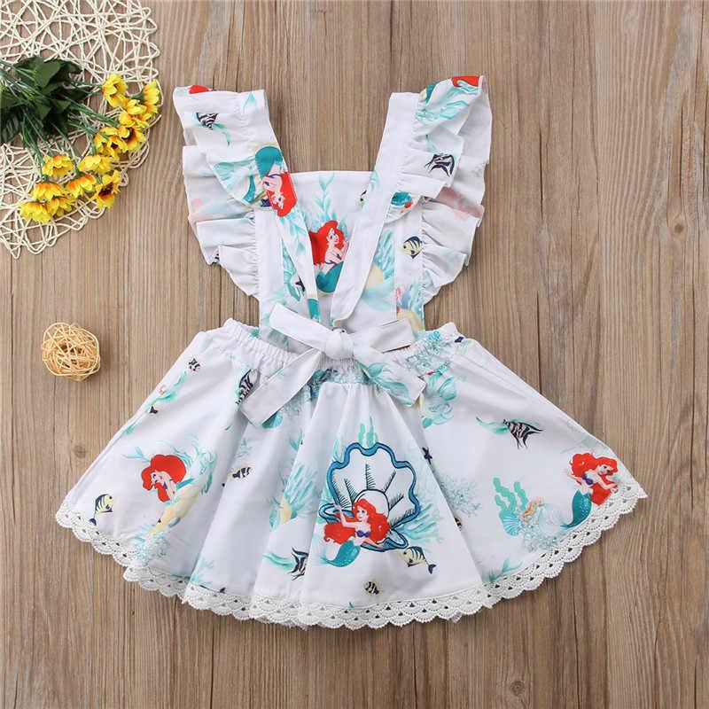 Летнее милое платье с оборками для маленьких девочек, платье с рисунком русалки, с открытой спиной, с оборками, платье на день рождения, подарок, детская одежда
