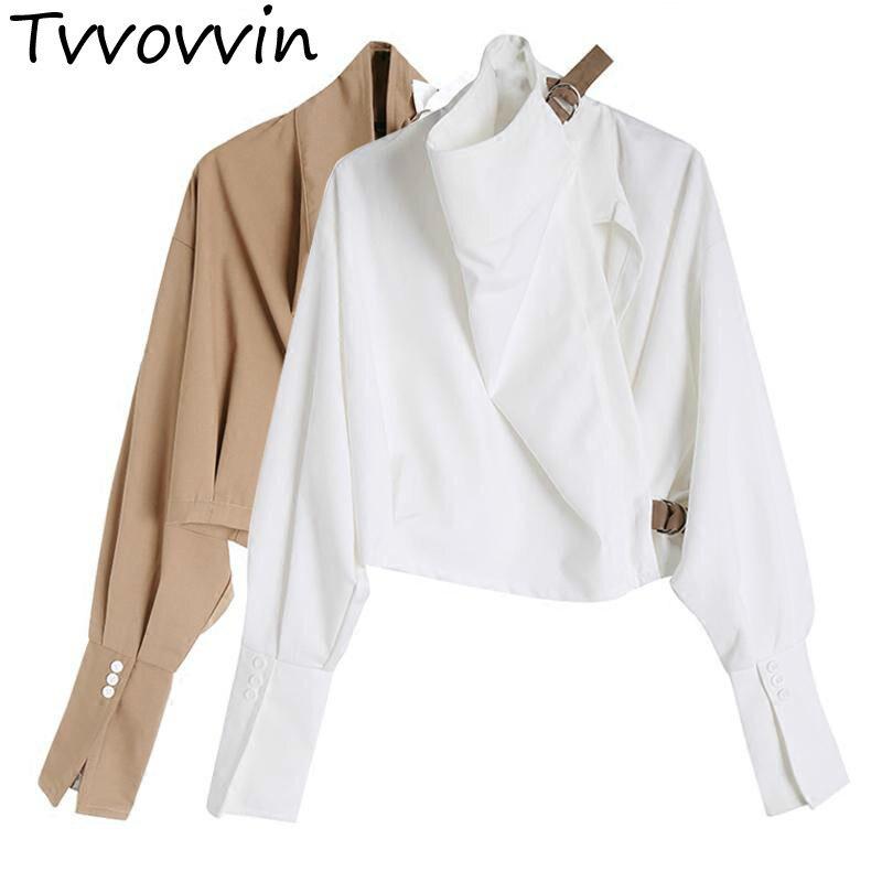 Woman Coat Irregular Turtleneck Short Coats Asymmetry Color Matching Personality Coats 2019 New Fashion Casual Tops