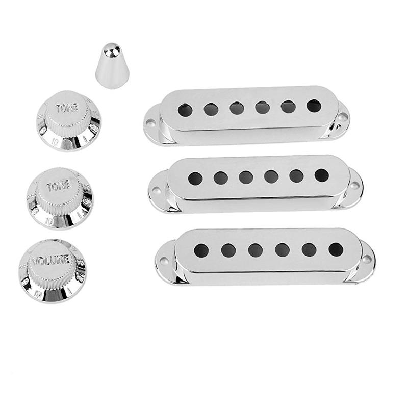 7Pcs Silver Guitar Pickup Cover and Knobs Switch Tip Set ABS Guitar Pickup Covers Guitar Accessories Parts (Chrome)