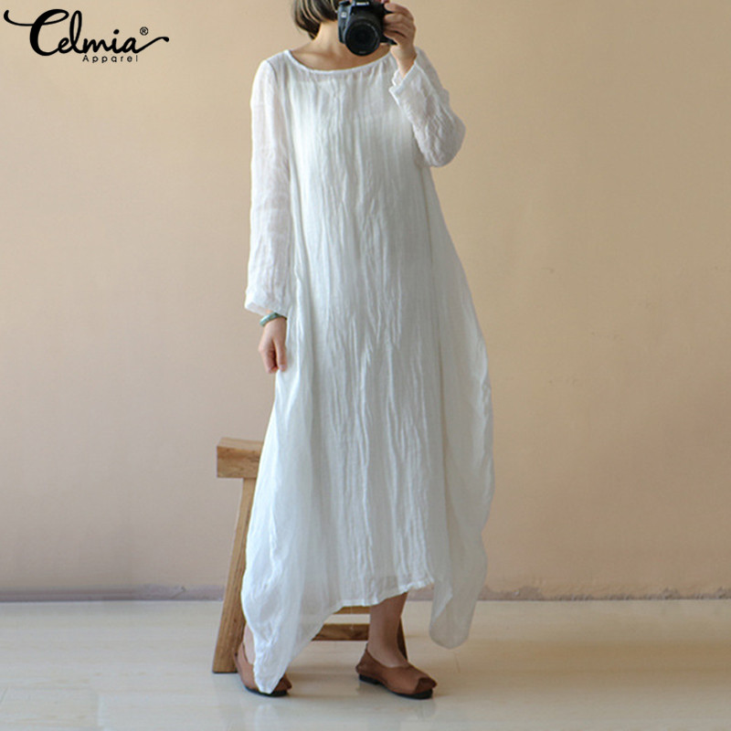 Celmia Women Long Shirt Dress 2019 Summer Full Sleeve Casual Loose Spring Maxi Dresses Long Vestidos Robe Femme Plus Size S-5XL