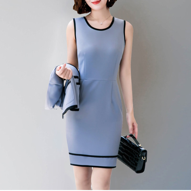 Elegant Business Women Pencil Dress Suits Winter Autumn Blazer + Sheath Dress Office Lady Jacket Set