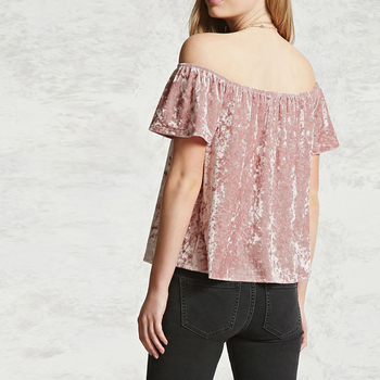 Solid Casual Off Shoulder Short Sleeve Ruffles