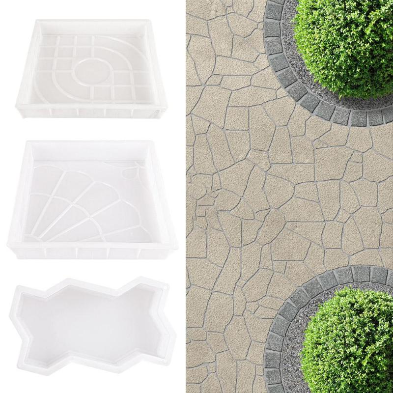 Garden Pavement Mold DIY Plastic Walk Manually Road Path Maker Propylene Paving Cement Brick Stone Concrete Mould For Garden