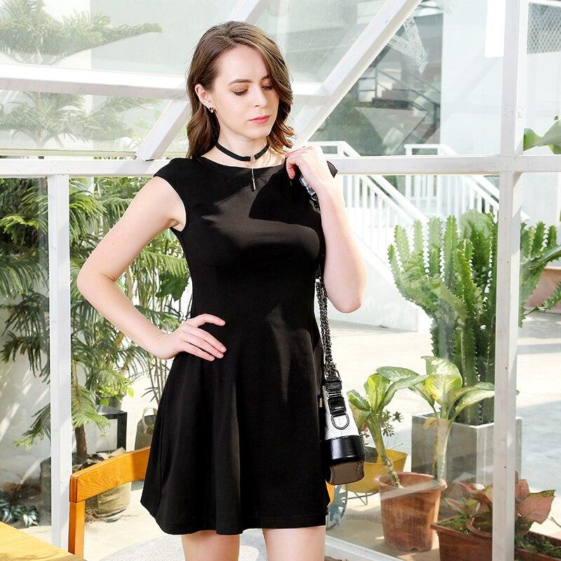 101a5c83302b 2019 Di Partito Femminile Elegante Mini Senza Summe Collo O Casual Black  Abbigliamento Nitree Maniche Vestito ...