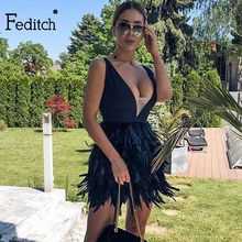64a0818df88a Feditch Novo Pena Sexy Vestido Mulheres Elegante Decote Em V Sem Mangas  Fino Vestidos de Festa