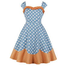 Joineles Mode Blok Warna Polka Dot Cetak Wanita Gaun Retro Pin Up Musim Panas Vintage Wanita Gaun Vestidos Femme Sundress(China)