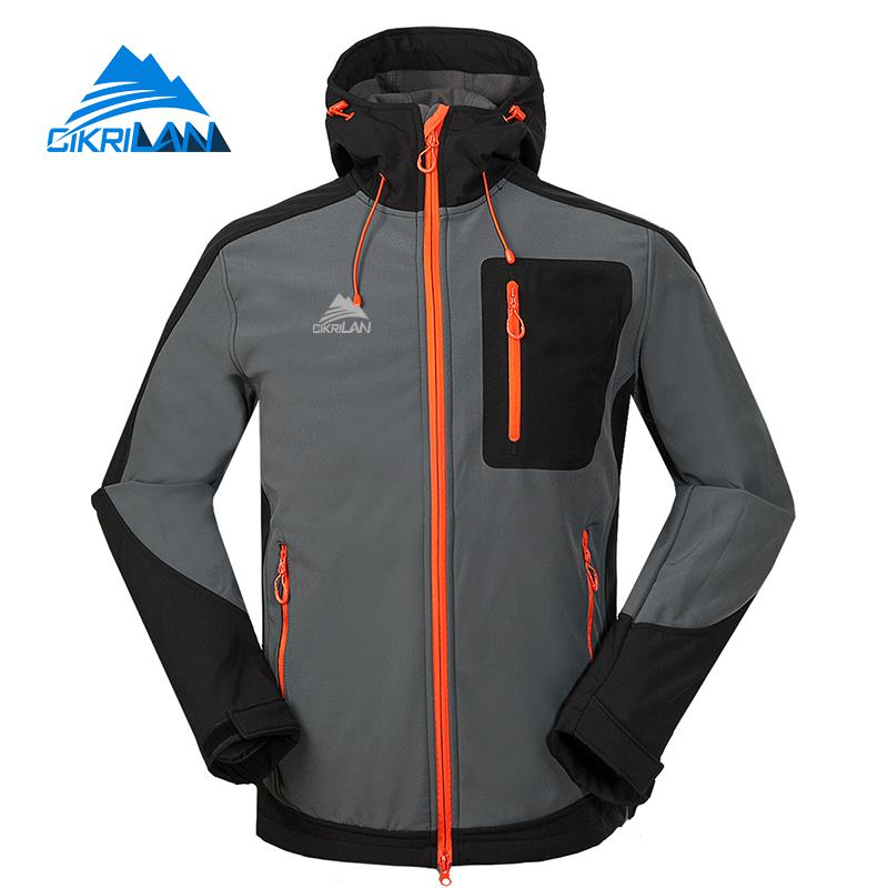 2019 Hiking Camping Trekking Hooded Coat Softshell Outdoor Jacket Men Fleece Lining Jaqueta Masculino Sport Climbing Ski Jackets