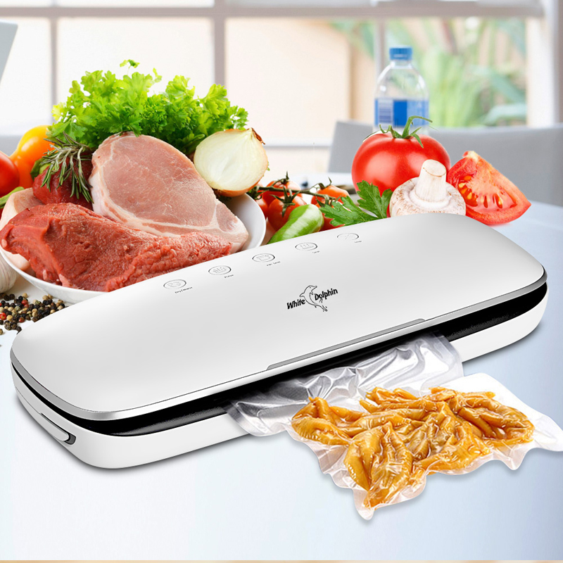 White Dolphin Best Food Vacuum Sealer Machine 220V 110V With 10PCS Food Packaging Bags Household Electric