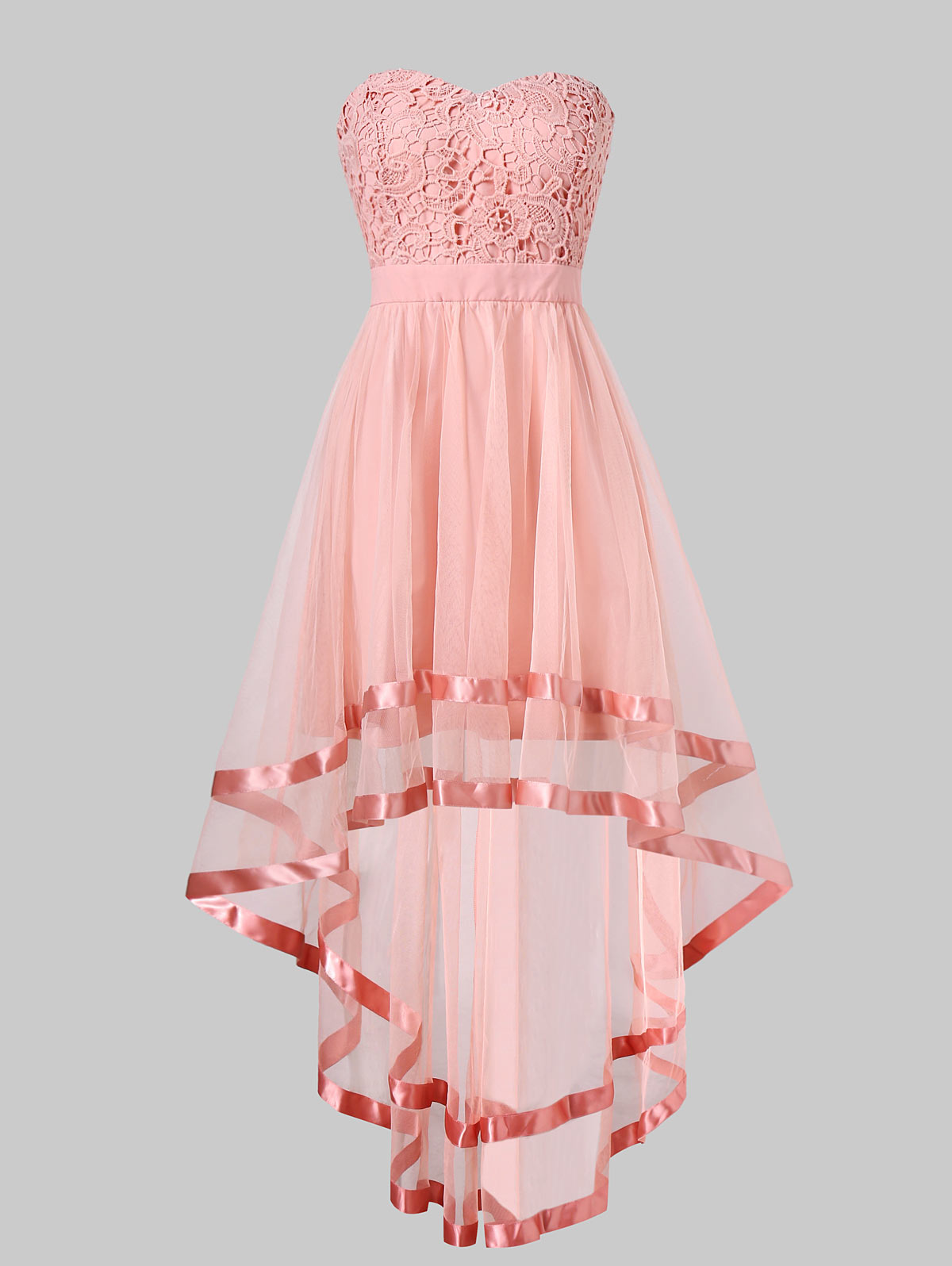 Wipalo Pink Chiffon High Low Party Dress Summer Women Dresses Strapless Dress Sleeveless Short Front Long Back Party Gowns