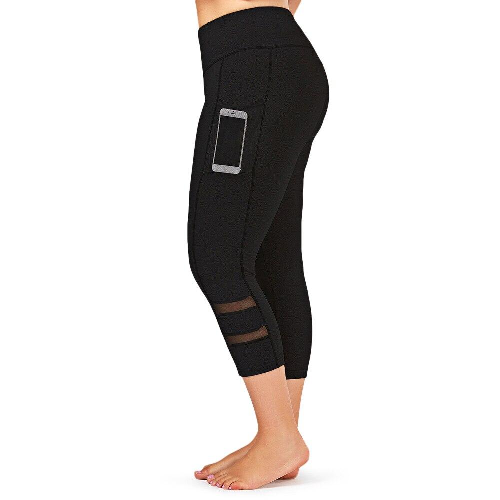 Women Legging Mesh Capri Leggings Plus Size Fitness Sport Pant Mid-Calf Trouser Skinny Elastic High Waist Pencil Pant Sweatpants