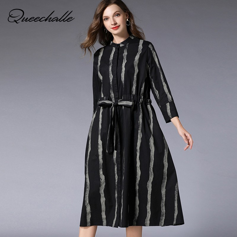 2019 Spring Autumn Stripe Print Dresses Women Plus Size Drawstring Waist Loose A line Dress Female