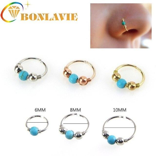 Natural Blue Stone Ball Nose Ring Nose Piercing Ear Bones