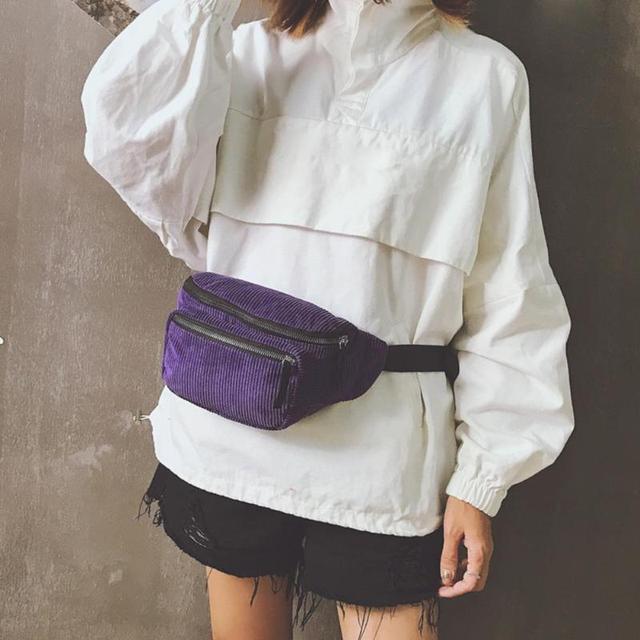 Винтажная Вельветовая поясная сумка для женщин, сумка для девочек, двойная молния, нагрудные сумки, ретро поясная сумка, Чистая сумка через плечо, Heuptas Pochete