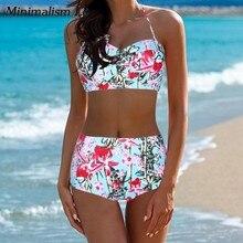 Minimalism Le Halter Top Push Up Print High Waist Bikini Floral Plus Size Bikini Set 2019 New Style Swimsuit Women Swimwear XXL