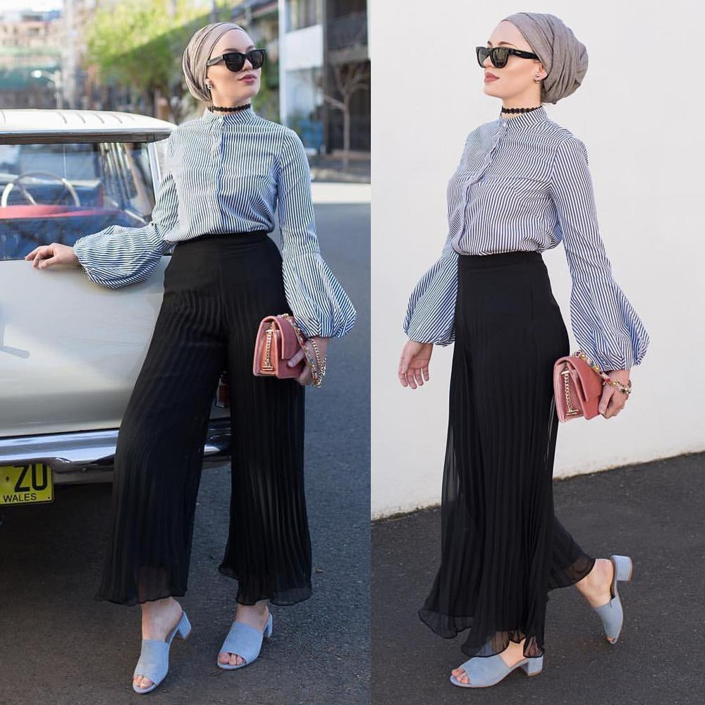 Women Sets Muslim Lantern Sleeve Blouse+Pants Lslamic High Quality Full Cover Costumes Set Stripe Tops Shirt Wide Leg Trousers