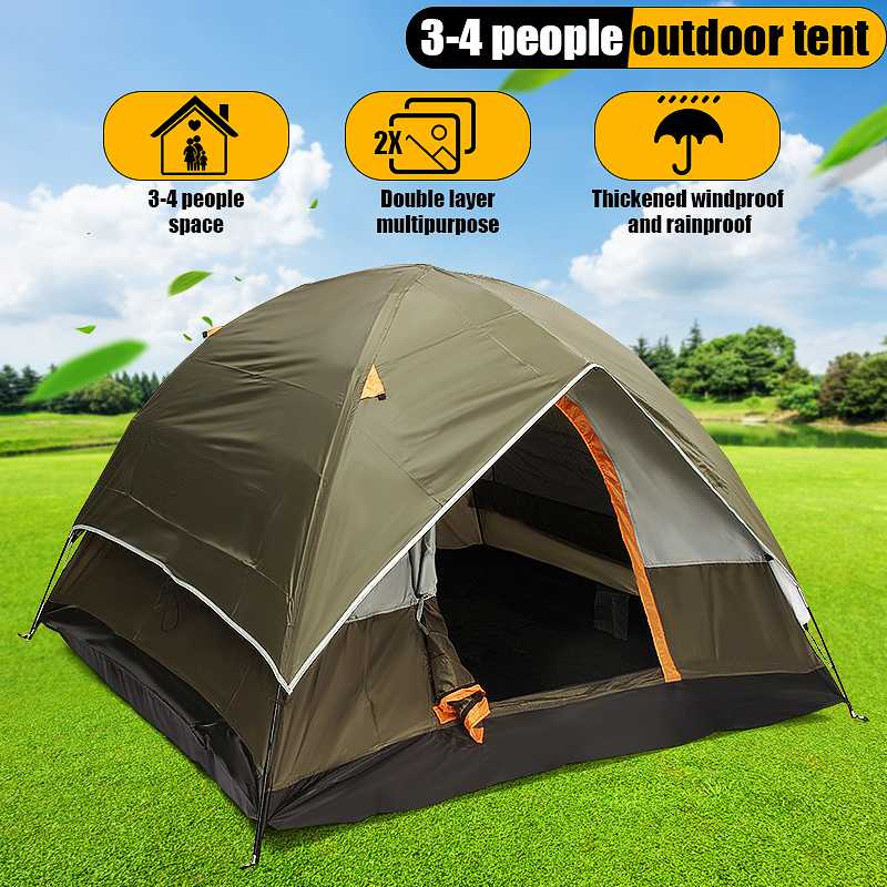 200*200*130cm Oxford cloth 190T polyester PU waterproof coating 4 seasons 4 people double layer outdoor camping hiking tent200*200*130cm Oxford cloth 190T polyester PU waterproof coating 4 seasons 4 people double layer outdoor camping hiking tent