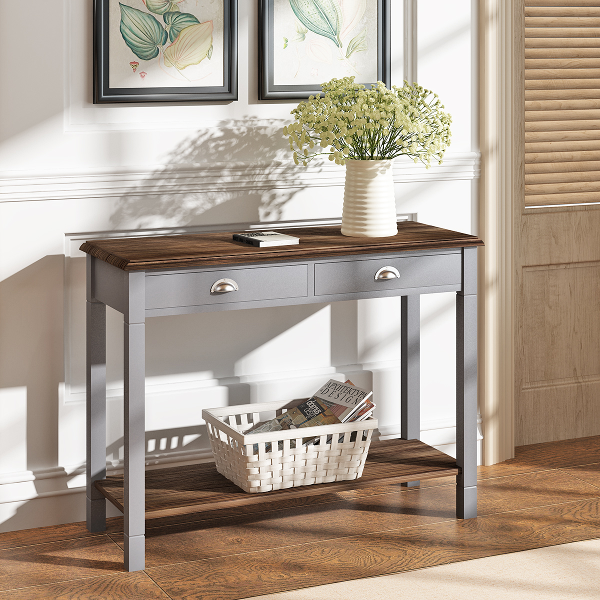 Panana Moderm Oak Console/Dressing /Telephone/Hallway Table Desk With Drawer Shelf Storage Cabinet