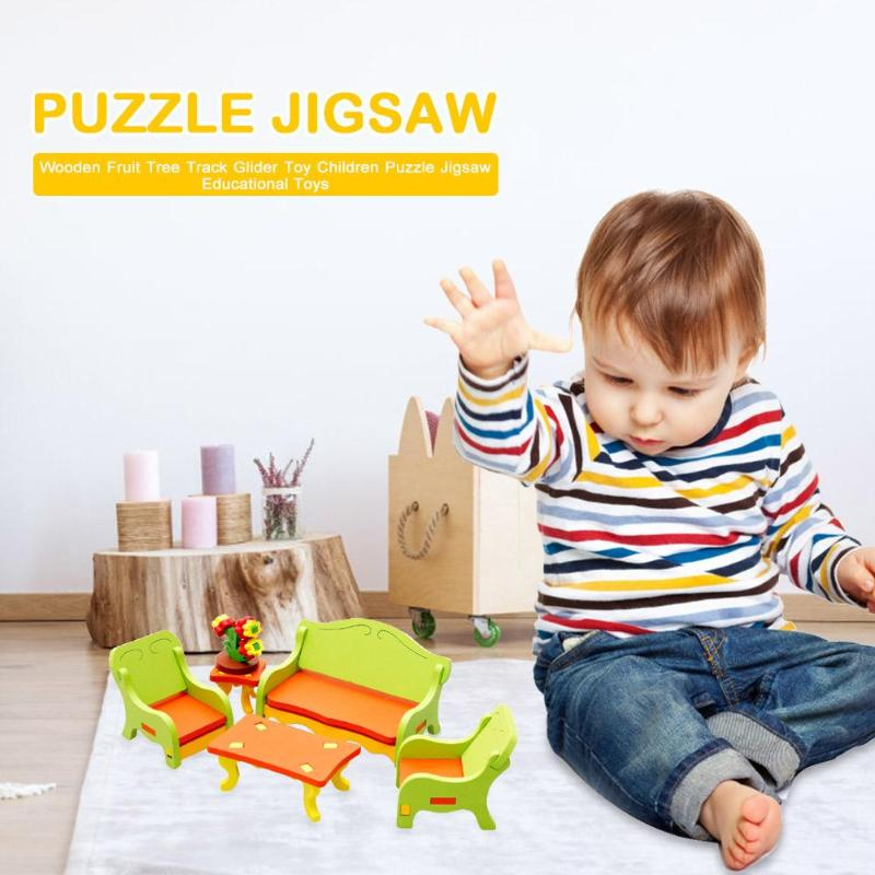 Wooden Bench Dolls DIY 3D Model Toy Puzzle Wooden Home Table Chair Dresser Model Children Board Furniture Accessories For Kids