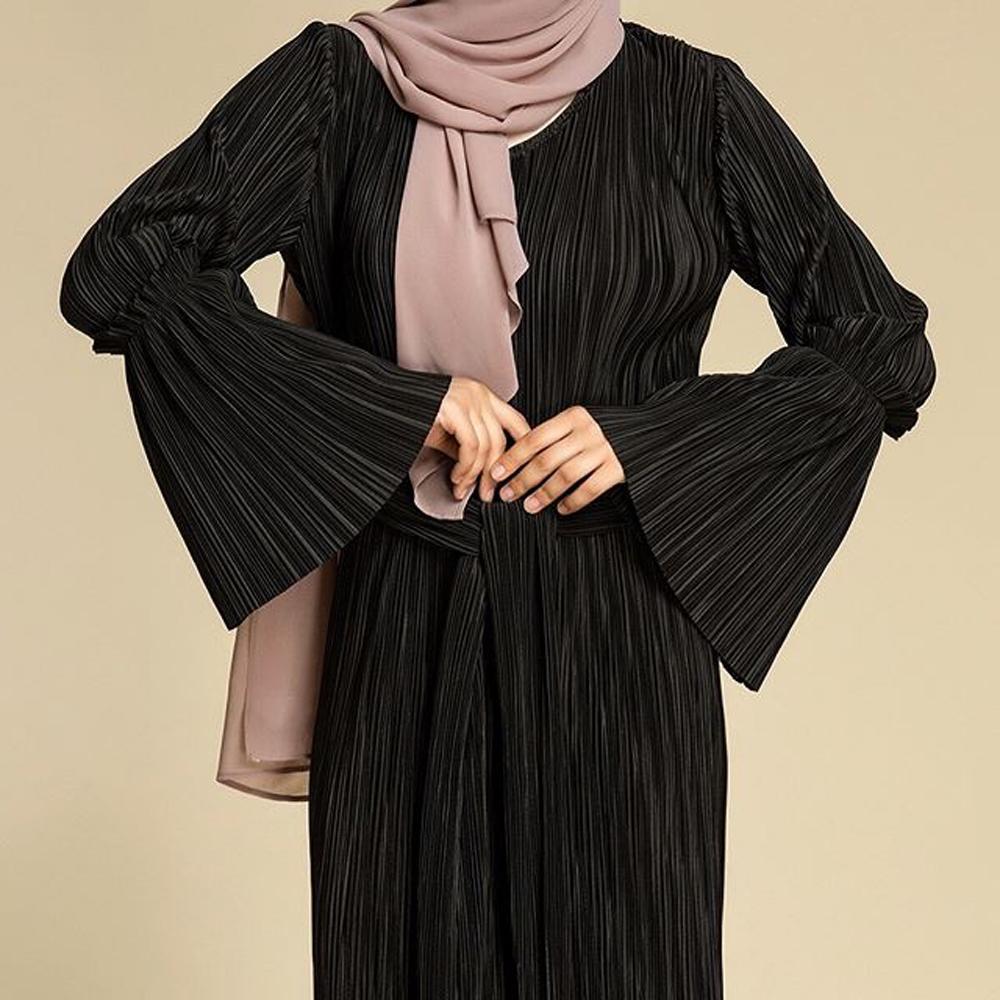 Muslim Women Pleated Dress Robe Slim Belt Abaya Bell Sleeve Maxi Kaftan Gown Fashion Cocktail Party Dress Arab Islamic Clothing