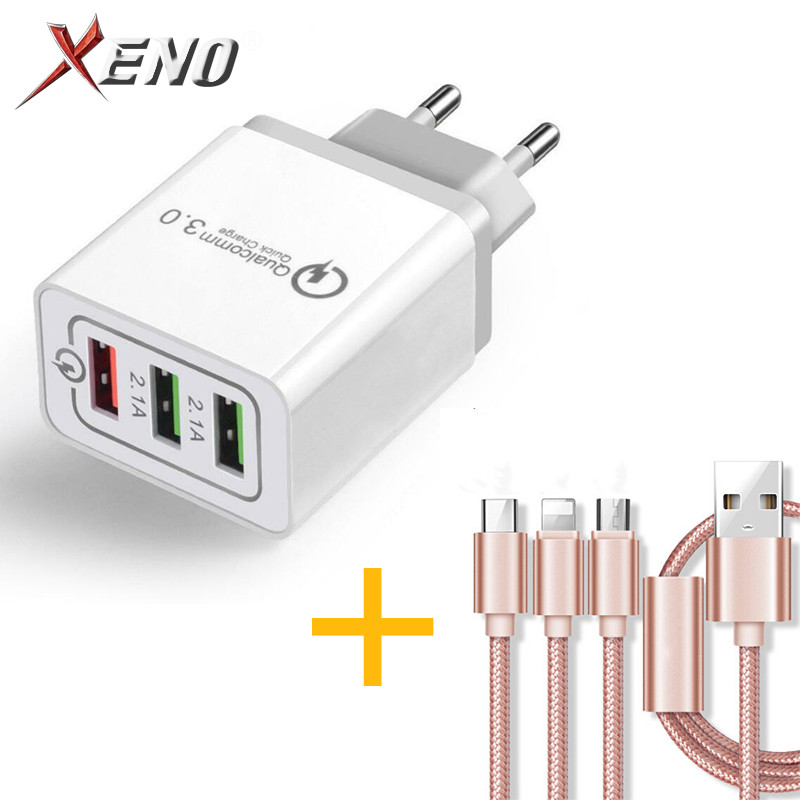 5V 2.1 3 <font><b>USB</b></font> Charger Quick Charge QC 3.0 Fast Charging Adapter 1m <font><b>3in1</b></font> <font><b>USB</b></font> <font><b>Cable</b></font> Phone Charger <font><b>For</b></font> <font><b>iphone</b></font> Micro <font><b>USB</b></font> Type C <font><b>Cable</b></font> image
