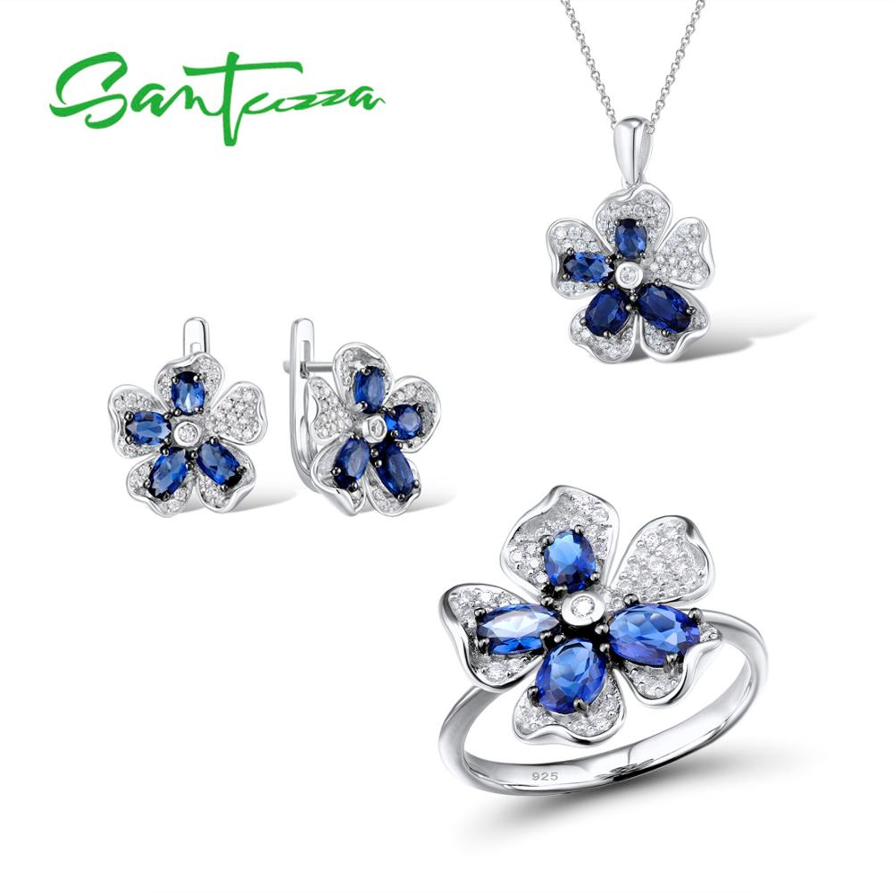 SANTUZZA Silver Flower Jewelry Set Bridal Wedding Blue CZ Stones Ring Earrings Pendant Set 925 Sterling