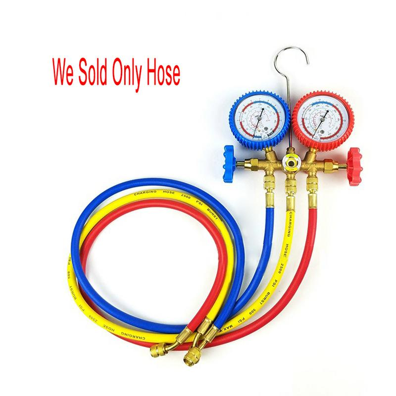 Car Hose R134a Air 60 Inches Car Air Conditioner Refrigerant Repair Three-color Repair Kit Maintenance Tools Auto Repair Tool