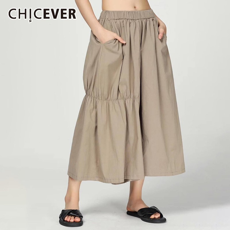 CHICEVER Summer Casual Pleated Solid Women   Pants   Elastic High Waist Pockts Loose Plus Size Female   Wide     Leg     Pants   2019 Fashion