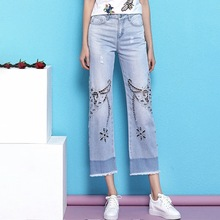 2019 spring and summer new hollow out jeans female fashion straight old shaved calf-length wide leg mujer NW19B6032