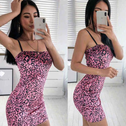 2019 Women  Pink Spaghetti Strap Sling Slim Hot Fashion Sexy Leopard Printed Sling Evening Party  Club Wear Bodycon Mini Dress