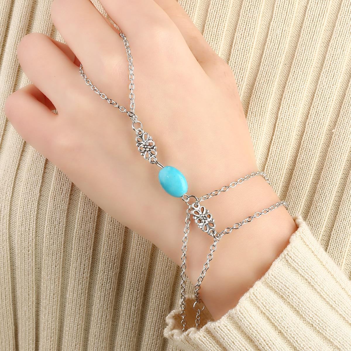 Genereus Vrouwen Boho Sieraden Vintage Charms Natuurlijke Groene Steen Slave Chain Hand Harness Armband Verzilverd Kralen Zomer Strand Decor