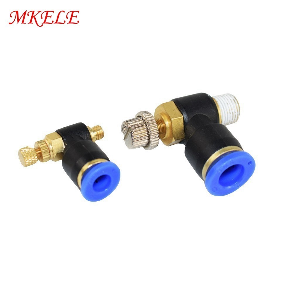 SL Series4 6 8 10 12mm Fast Connection Air Tube Fittings Valve Throttle Valve M5 1 8 quot 1 4 quot 3 8 quot Bsp Air Speed Regulating in Pneumatic Parts from Home Improvement