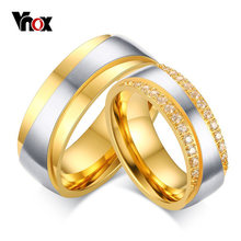 c229620469 Vnox Women Men Engagement Ring Engrave Name Luxury CZ Zirconia Gold-color  Wedding Ring Love Jewelry US Size