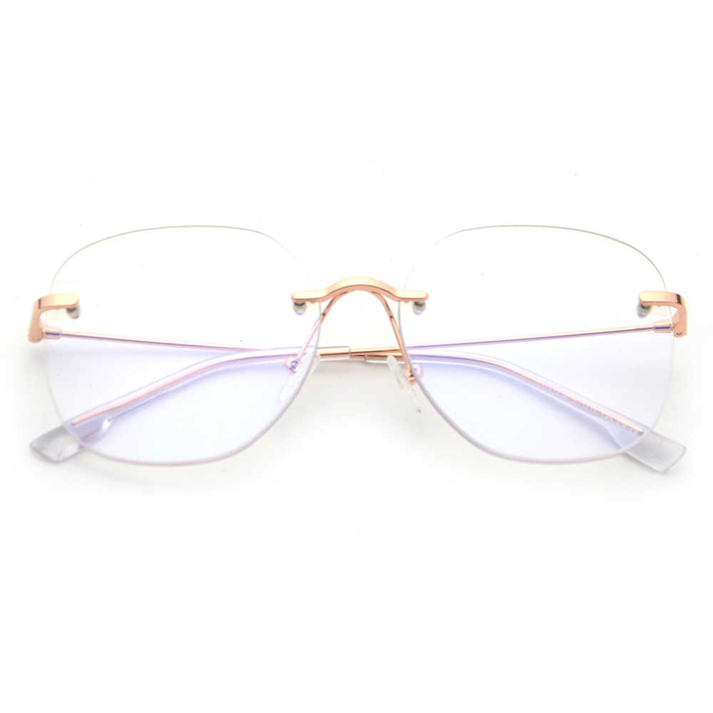 96a31ee27fd0 ... Kachawoo Clear Lens Rimless Glasses Frame Men Big Size Metal Optical Eyewear  Frames Women Gold Silver ...