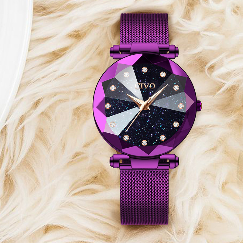 CIVO New Fashion Bling Ladies Crystal Watches Waterproof Quartz Watches Purple Steel Mesh Wristwatches Clcok Relogio Feminino in Women 39 s Watches from Watches