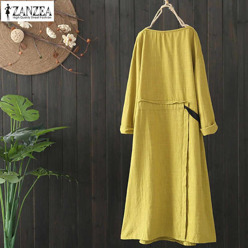 ZANZEA 2019 Весна Винтаж платье средней длины в стиле пэчворк для женщин повседневные с длинным рукавом Хлопок Vestido женский сплошной кружево сарафан негабаритных