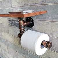 Industrial Retro Wall Mount Metal Pipe Toilet Paper Holder Roller Metal+Wood Toilet Paper Holder Kitchen WC Paper Holder